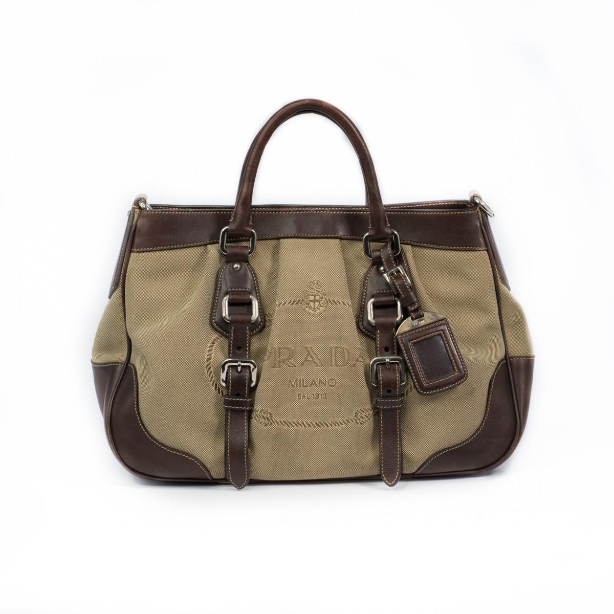 8480af3b85d Prada Brown Logo Jacquard Canvas Leather Trim Buckled Satchel Bag