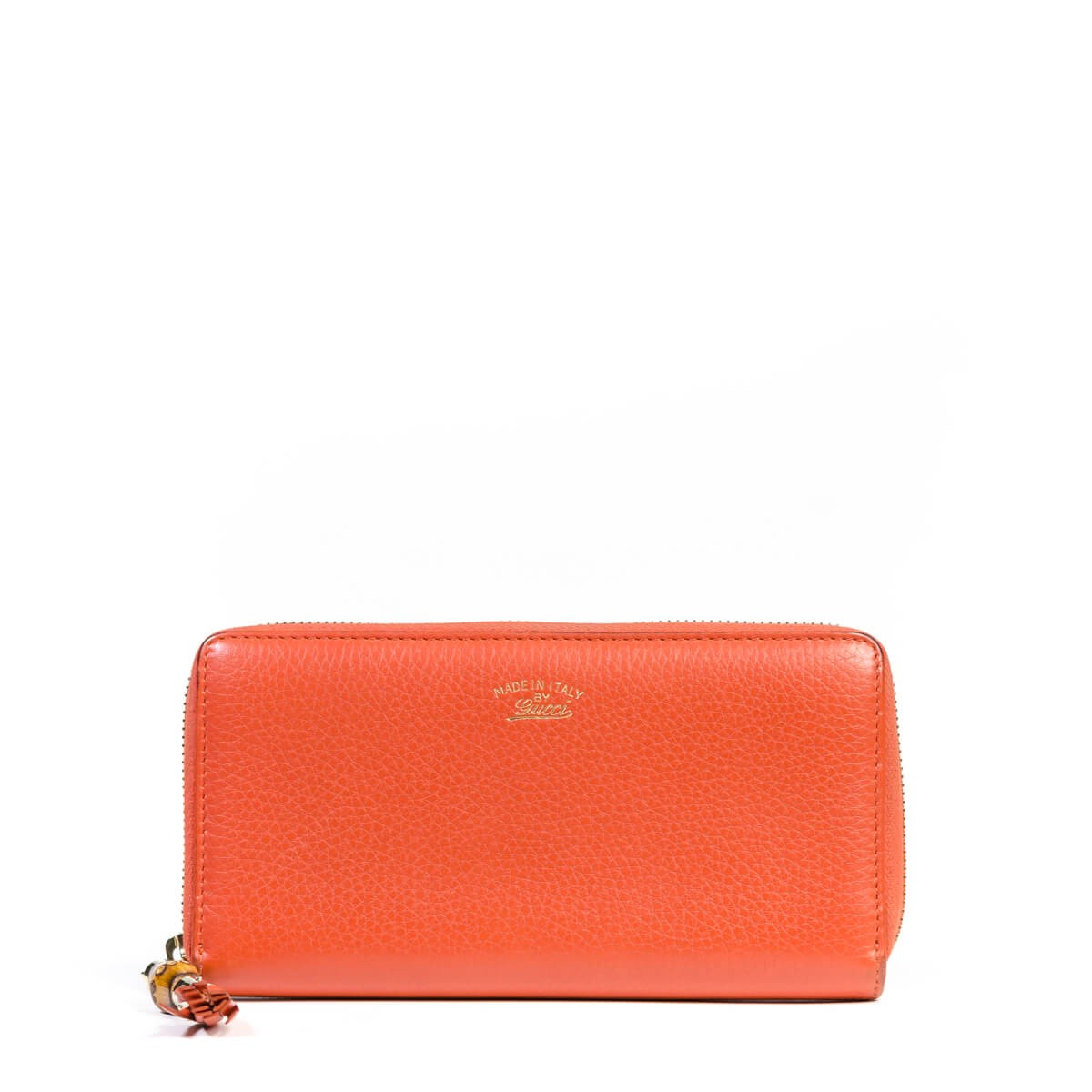 7551e7511e32 Gucci Orange Bamboo Tassel Leather Zip Around Wallet