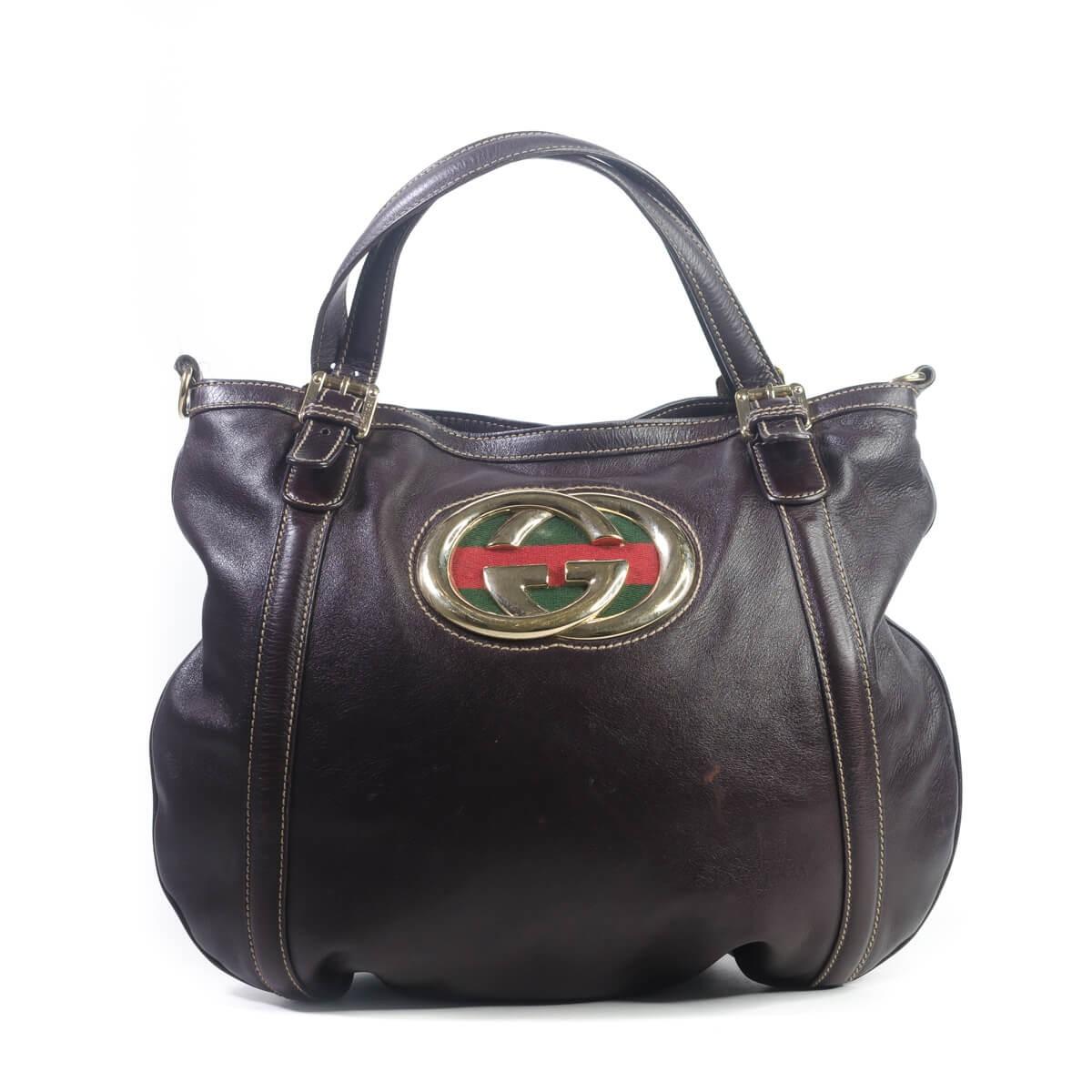 a7c8e2991ef Gucci Calfskin Medium Britt Bag Dark Brown