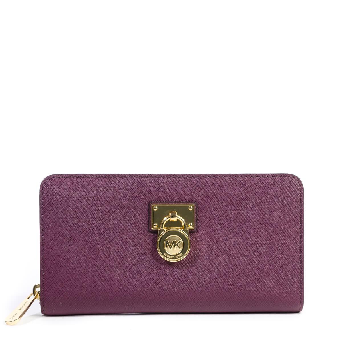 c2b5151379194 Plum New Hamilton Traveler Large Zip Around Saffiano Leather Wallet