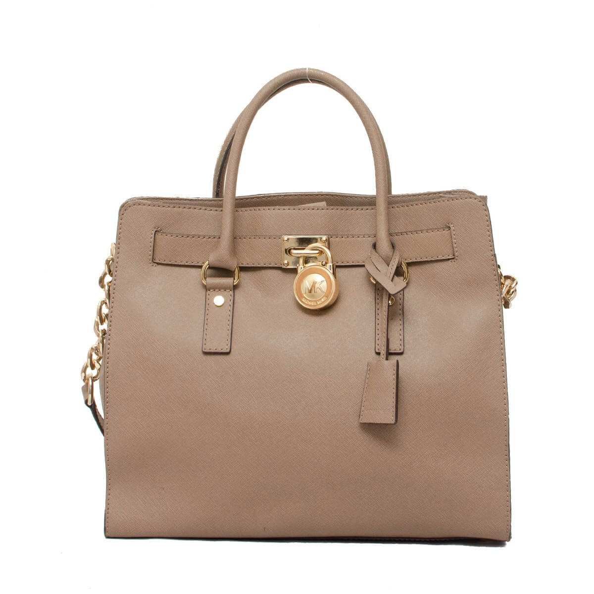 f45e25cf48d5 Hamilton Saffiano Large Lock and Key New with Tags Dark Dune Taupe Brown    Gold tone Hardware Leather Satchel