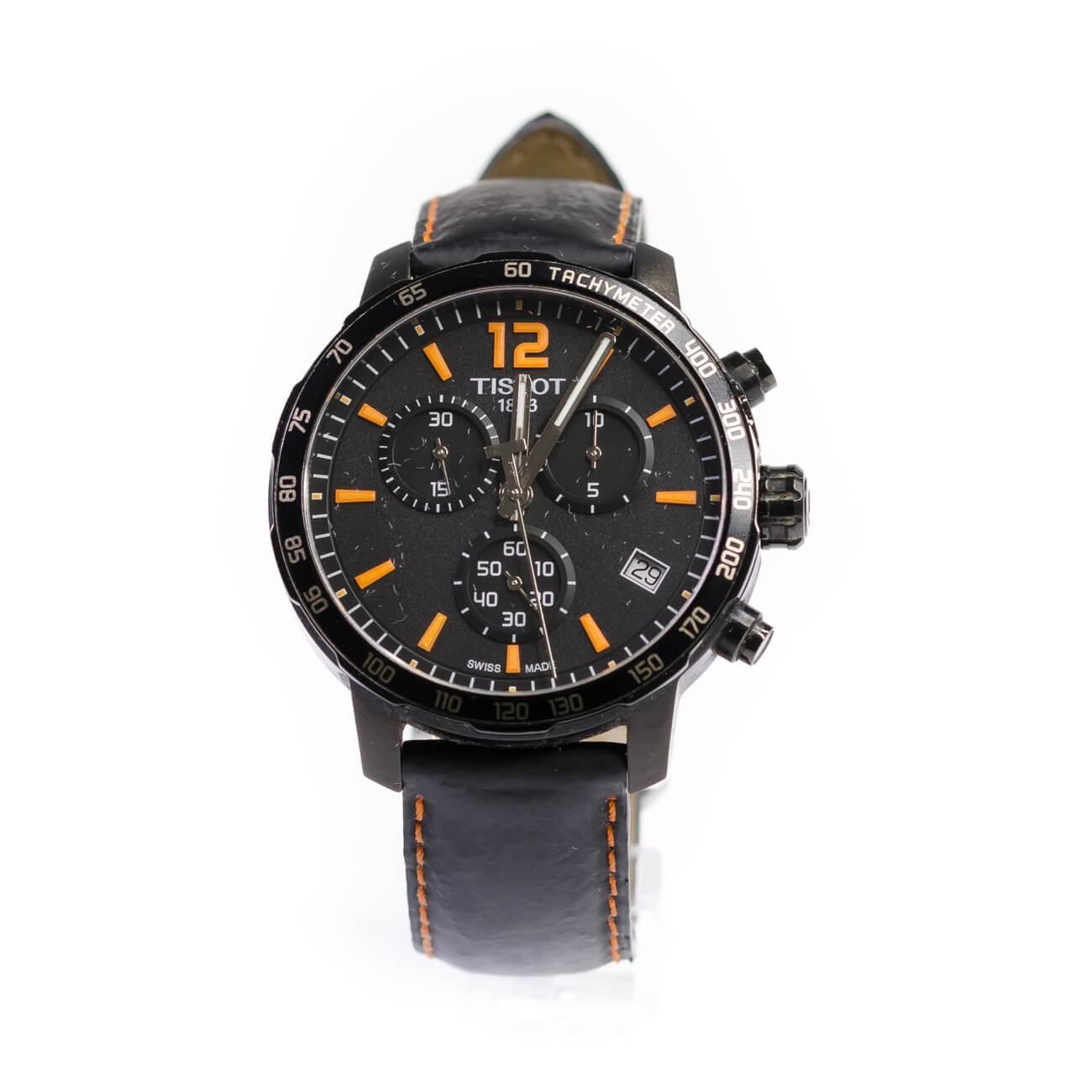 d6e29df7242 Tissot Quickster Chronograph Black Dial Black Leather Men's Watch