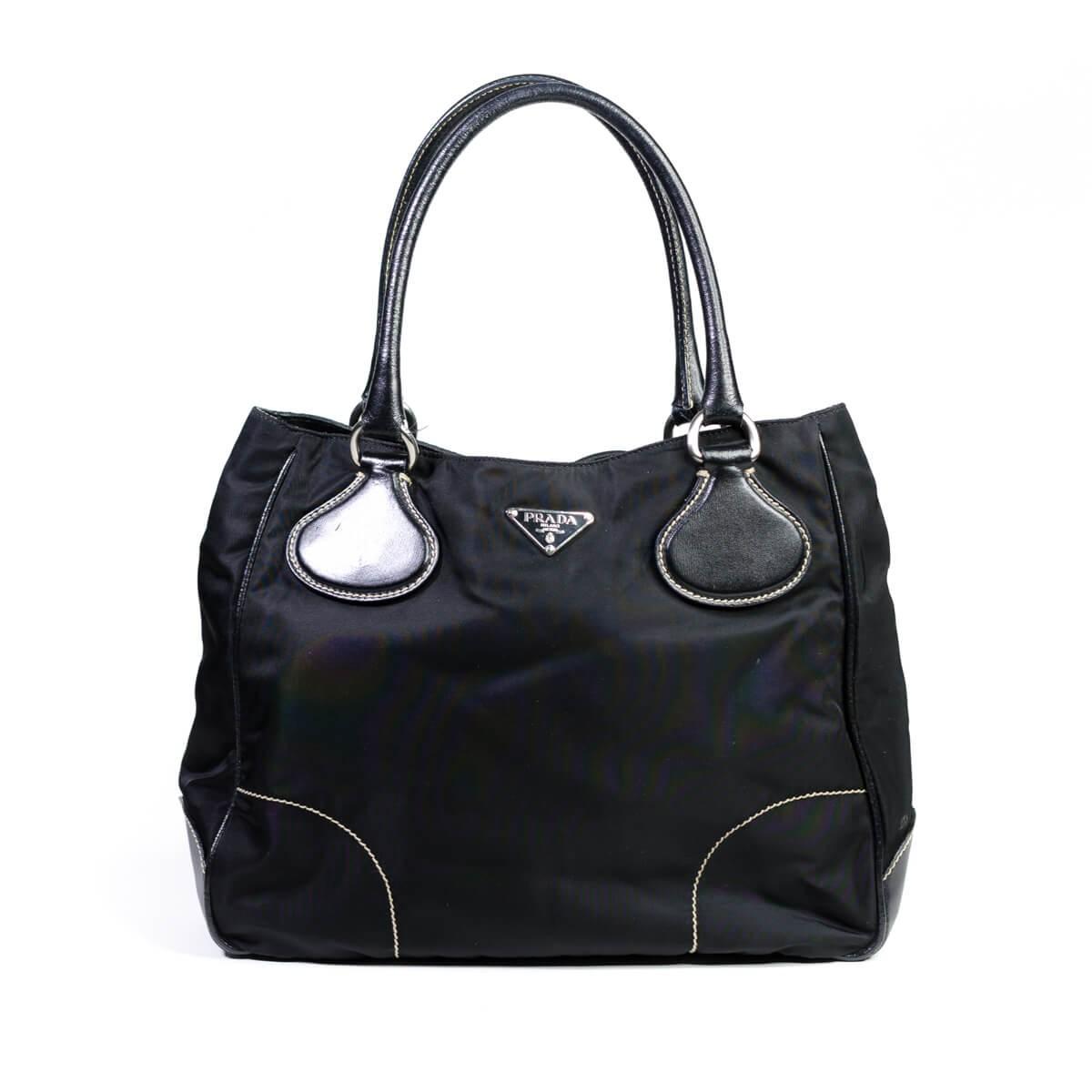 e73d3e3de6298e Prada Black Tessuto Moon Nylon Leather Trim Handbag