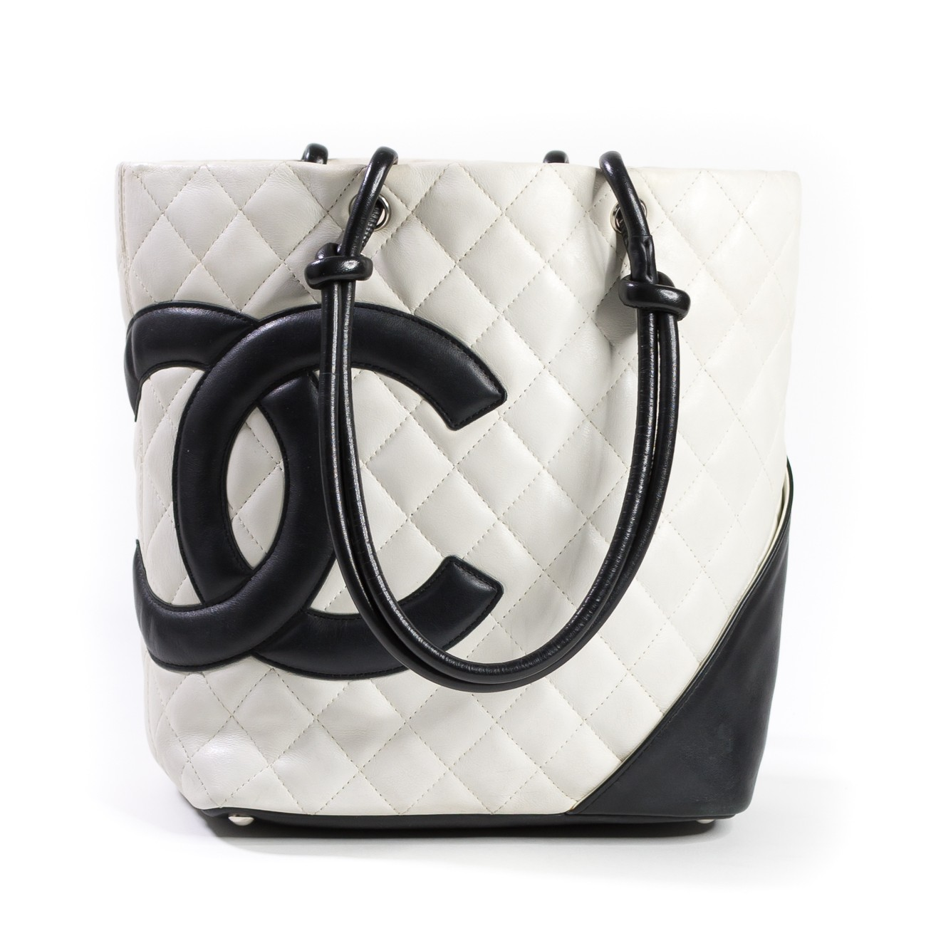 67a8befdc2 Chanel White/Black Quilted Ligne Cambon Small Tote Bag