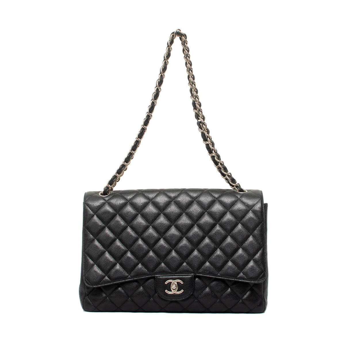 d2677e39523f Black Quilted Caviar Leather Classic Maxi Double Flap Bag