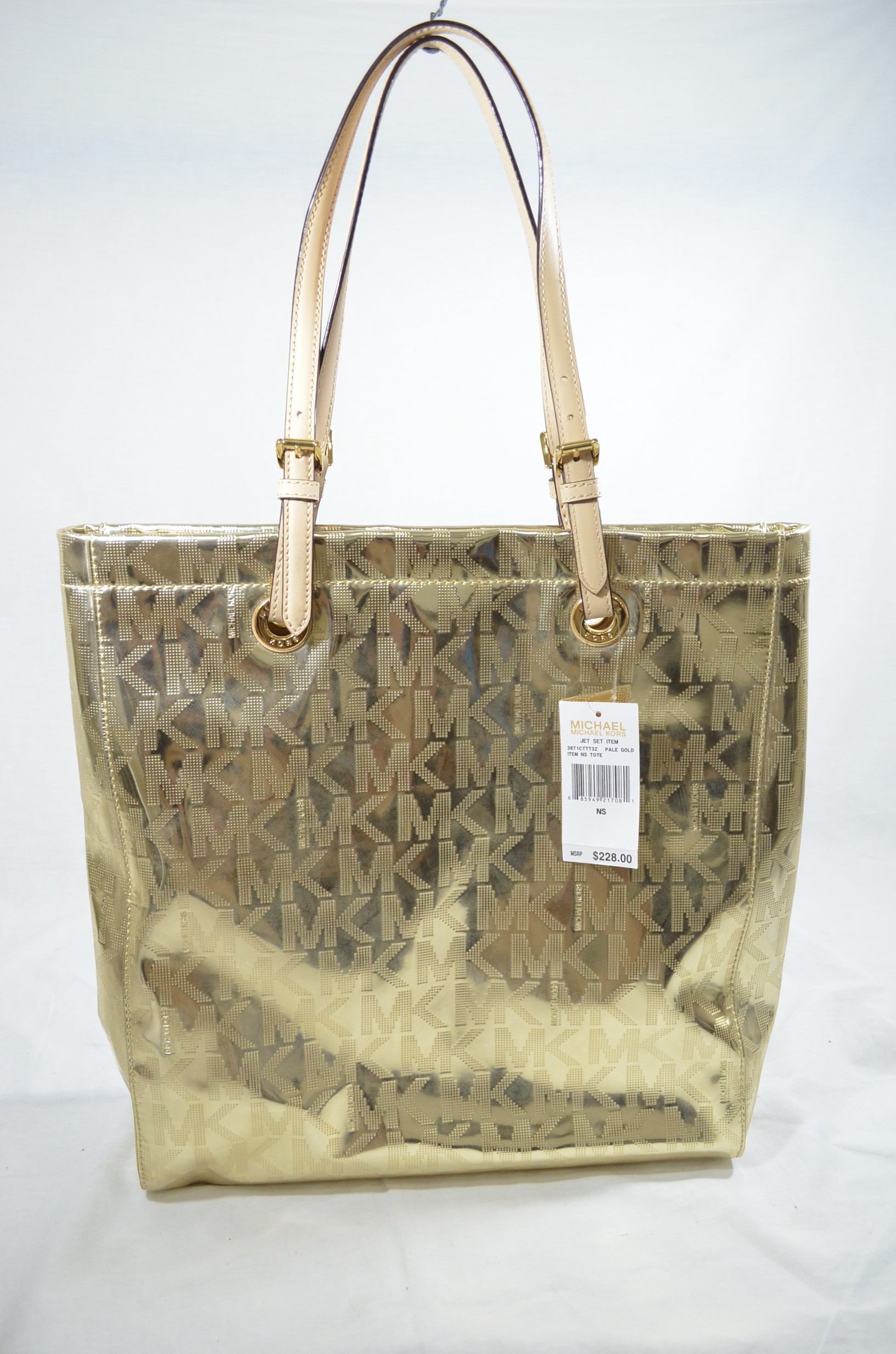 Michael kors tote bags philippines -  Tote Mk Signature Mirror Metallic Pale Gold Lightbox Moreview