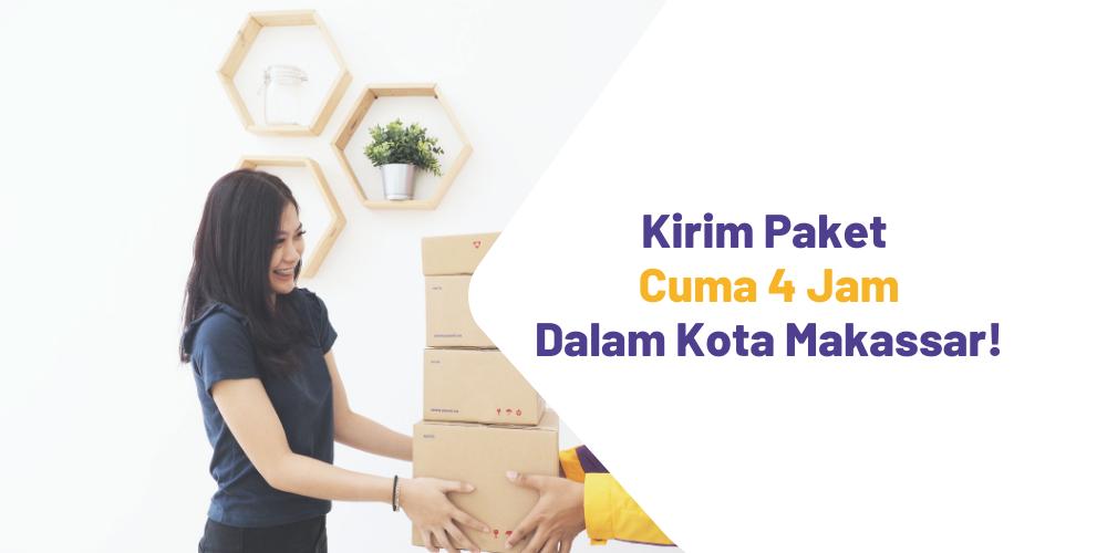 Kirim paket dalam kota Makassar lebih cepat dengan tarif ongkir FLAT yang terjangkau!