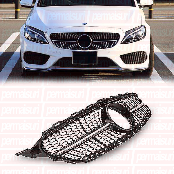 Grille Diamond Black For C Class W205 Style 43
