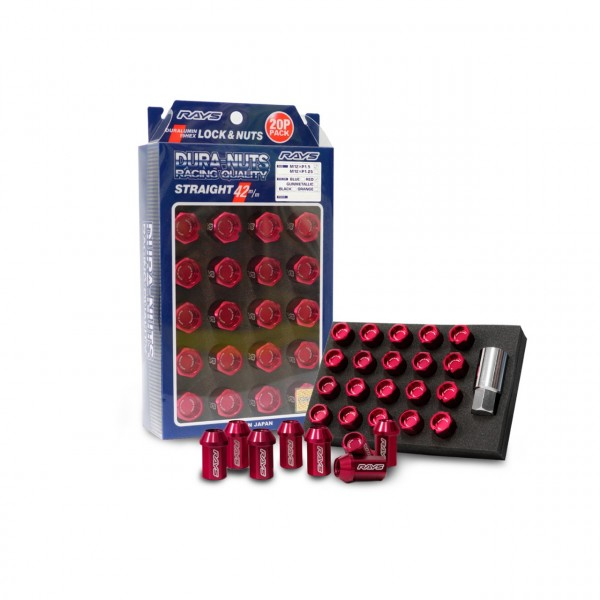 L42 Duralumin Straight Lock & Nut Set Red