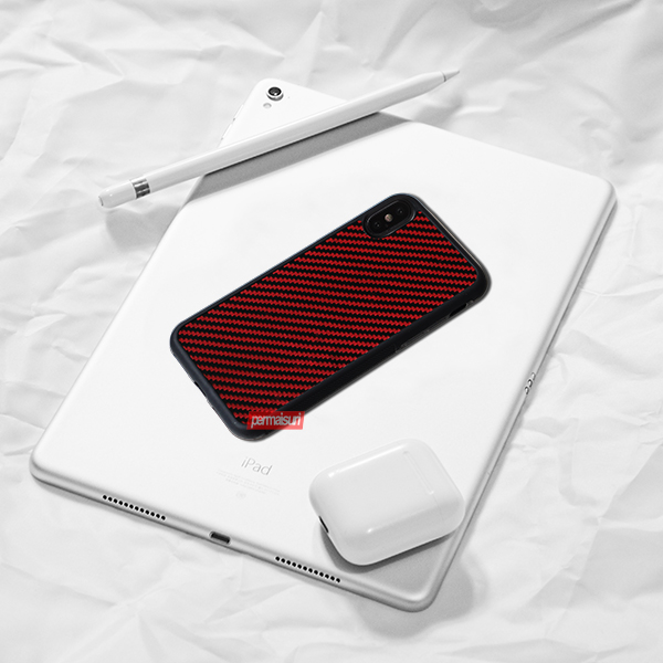 Case Carbon Red Rubber Iphone XS Max