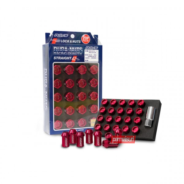 L42,L32 Duralumin Straight Lock & Nut Set Red