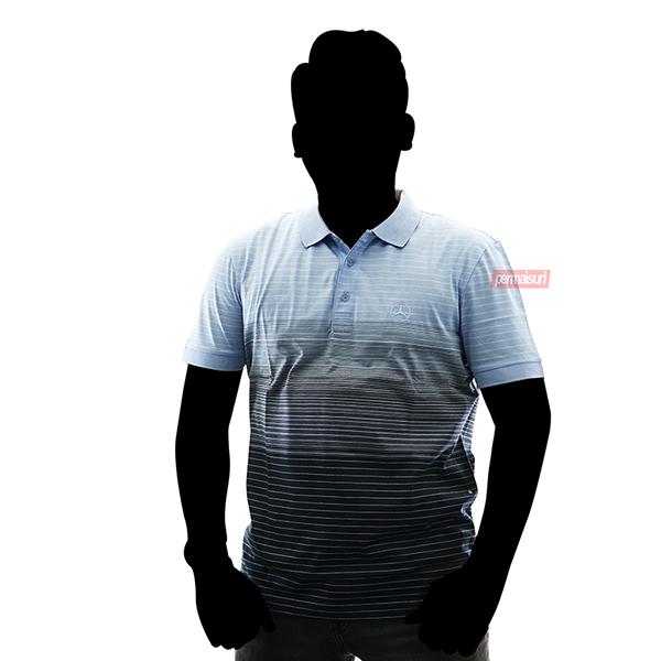 Mercedes Benz polo shirt men lightblue - navy