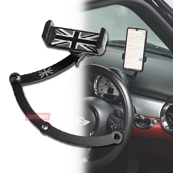 Phone Holder for Mini Cooper Black Grey Union Jack