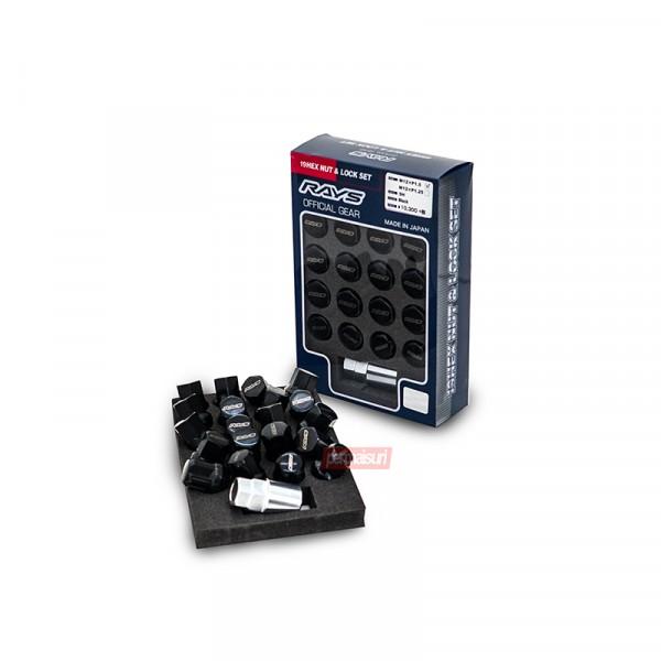 19HEX NUT & LOCK SET RAYS OFFICIAL GEAR L31 Black