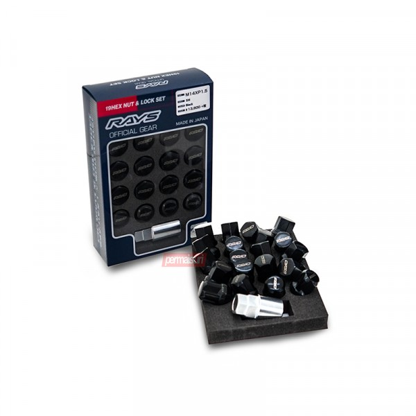 19HEX NUT & LOCK SET RAYS OFFICIAL GEAR L33 Black