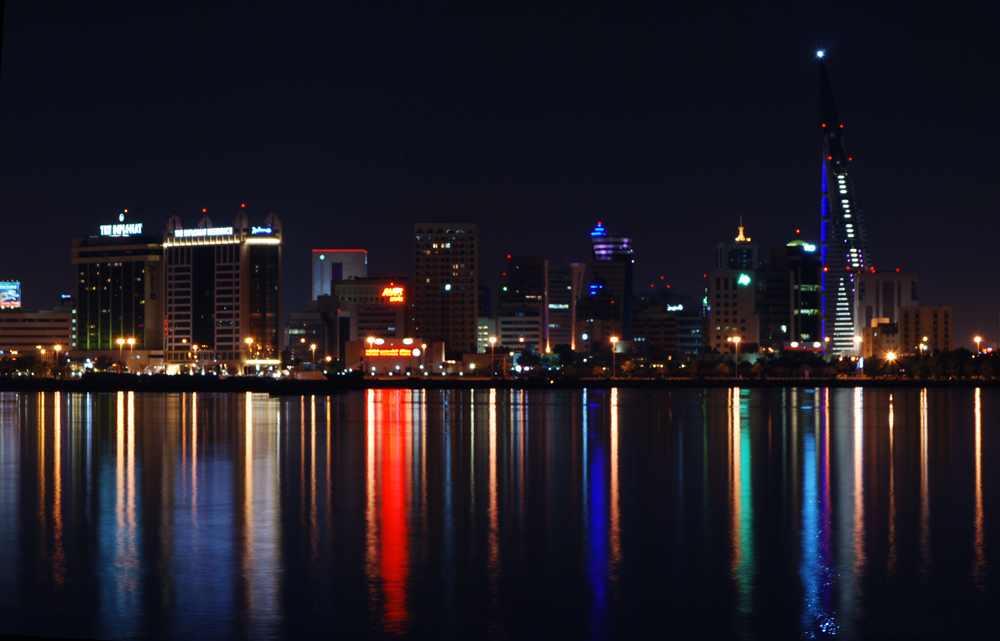 bahrain skyline apartments at night
