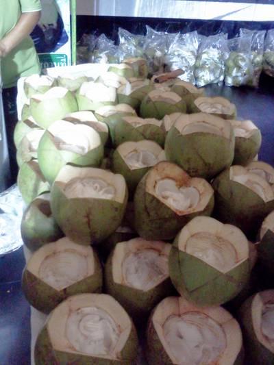 มะพร้าวหลายลูกเตรียมขาย ที่ ร้านอาหาร หม่อมเหยินไอศครีมมะพร้าวสด