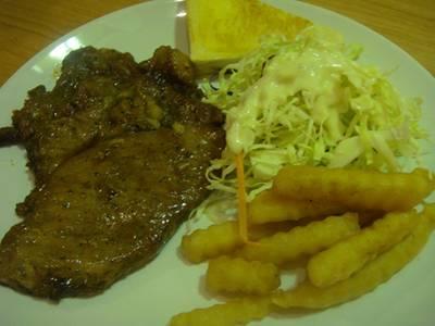 เสต็กหมูพริกไทยดำ ที่ ร้านอาหาร BKK Grill ซอยรางน้ำ อนุสาวรีย์ชัยสมรภูมิ- รางน้ำ