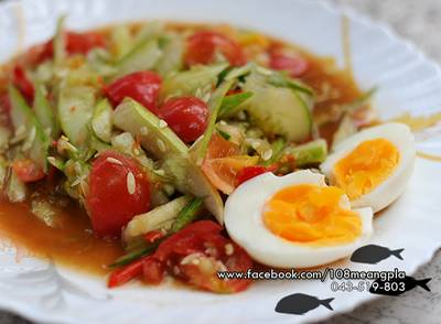 ตำแตงไข่ต้ม ของโปรดเลย ที่ ร้านอาหาร ร้อยแปดเมี่ยงปลา
