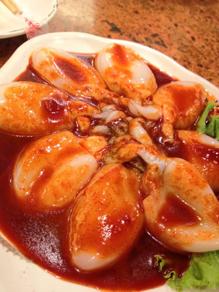 ปลาหมึกเกาหลี อร่อยสด ที่ ร้านอาหาร Sukishi The Mall Bangkae