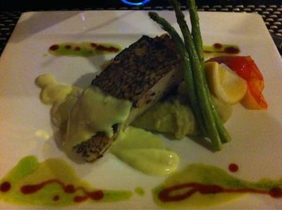 Grilled salmon /w wasabi mash potato ที่ ร้านอาหาร The NINE Wine&Dining | Wine Bar&Bistro คอนโดรอยัลเพลส ภูเก็ต