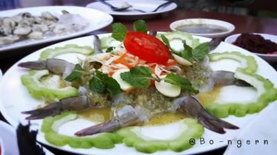 กุ้งแช่น้ำปลา ที่ ร้านอาหาร บ่อเงิน