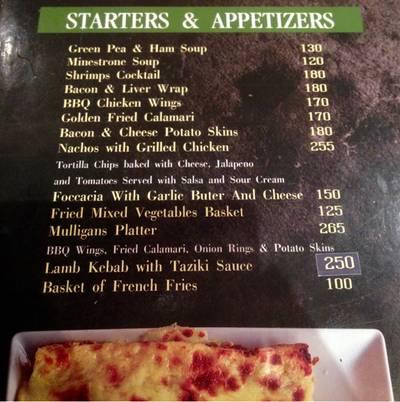 ป้ายหรือสมุดเมนู • แชะมาแค่ Appetizer Menu ที่ ร้านอาหาร Mulligans Irish Bar
