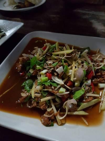 หอยแครงทรงเครื่อง ที่ ร้านอาหาร ครัวธรรมชาติ กาญจนบุรี
