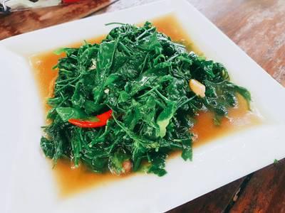 ผักหวานผัดน้ำมันหอย • ผักหายาก เอามาผัดน้ำมันหอย รสชาติกลมกล่อม ที่ ร้านอาหาร ครัวธรรมชาติ กาญจนบุรี