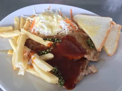 สเต็กหมูพริกไทยดำ • อร่อยดี ที่ ร้านอาหาร สเต็กสามย่าน ทูเดย์ สเต็ก วังใหม่