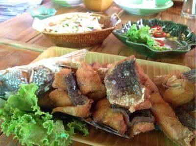 ปลากระพงราดน้ำปลา ที่ ร้านอาหาร ครัว ณ เหลา อาหารป่า ซีฟู้ด