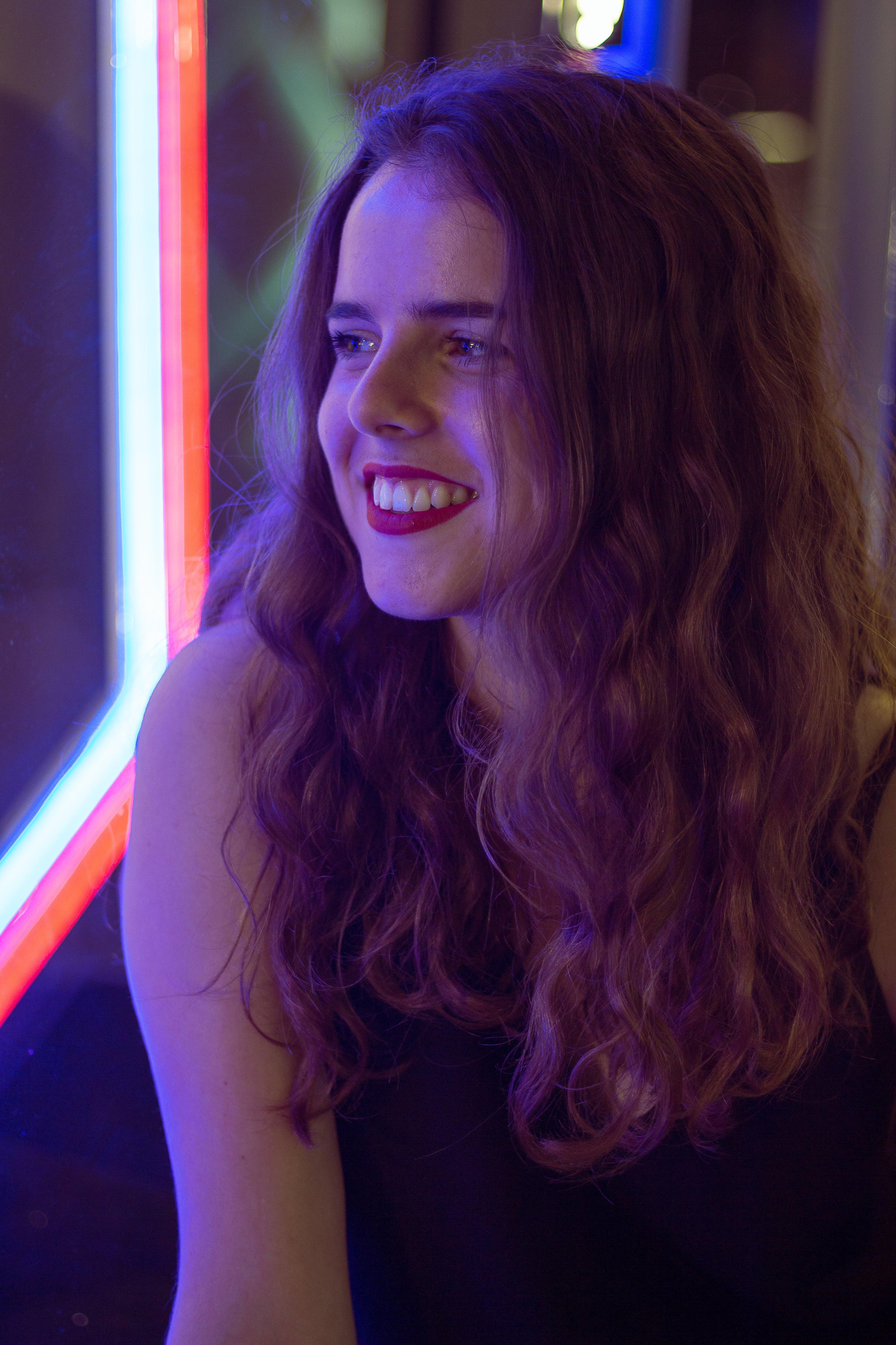 Julie Smiling Neon Portrait | Marina Bay Sands Shoppes | Singapore