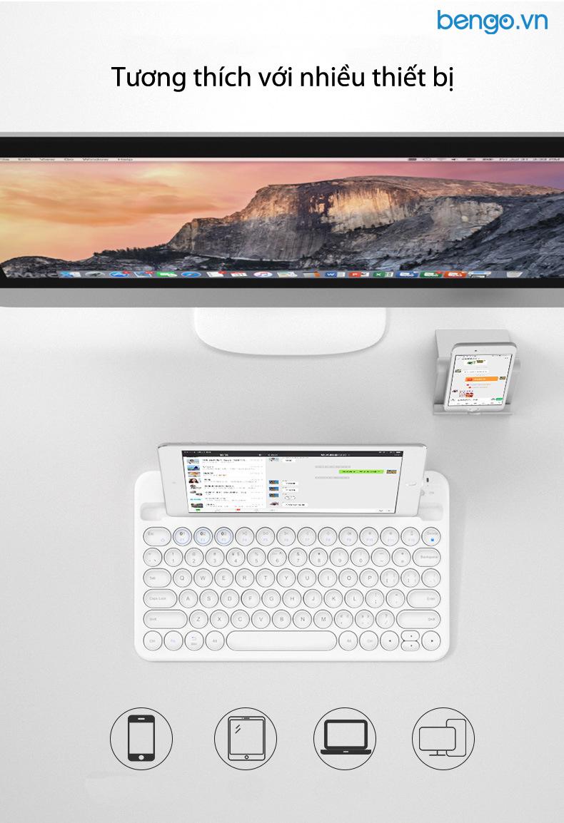 Bàn phím không dây Bluetooth cho điện thoại, máy tính bảng, PC, Laptop, MacBook B.O.W - HB206