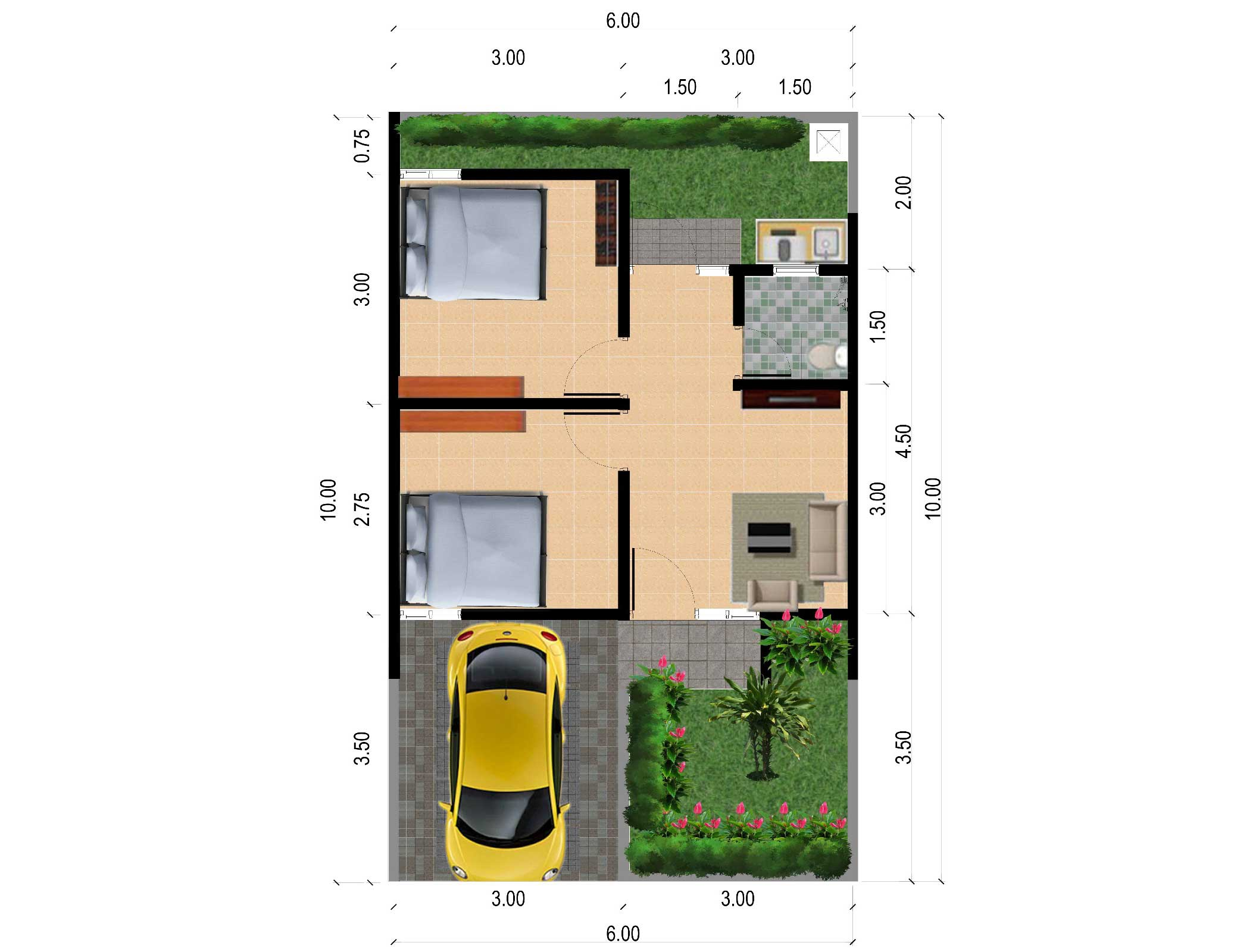Bumi Indah City Cluster Victoria Tipe Freesia Floorplan