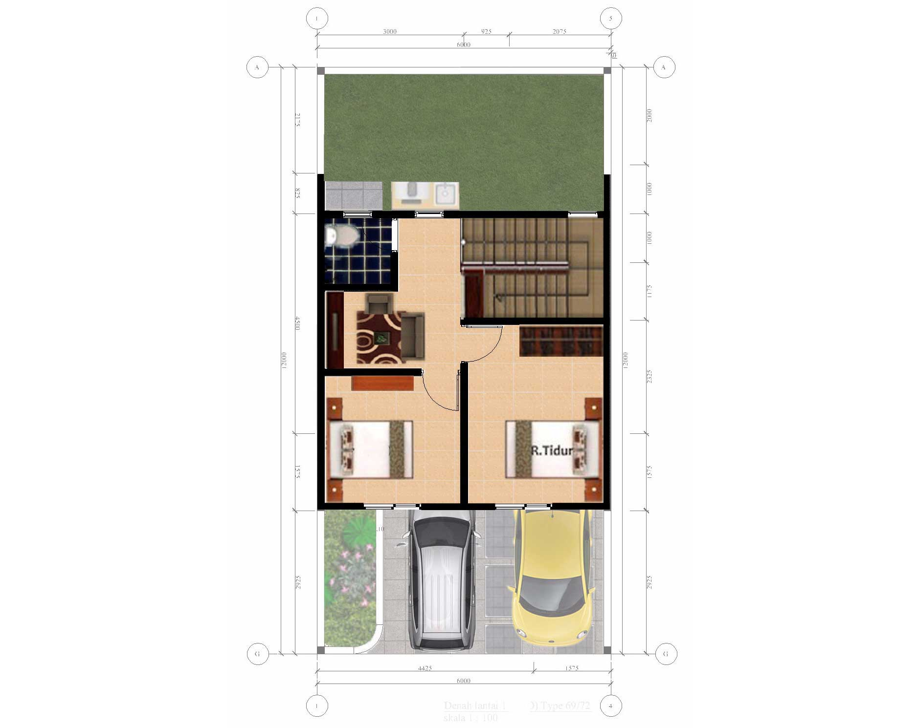 Bumi Indah City Cluster Extention Tipe Townhouse Floorplan 2