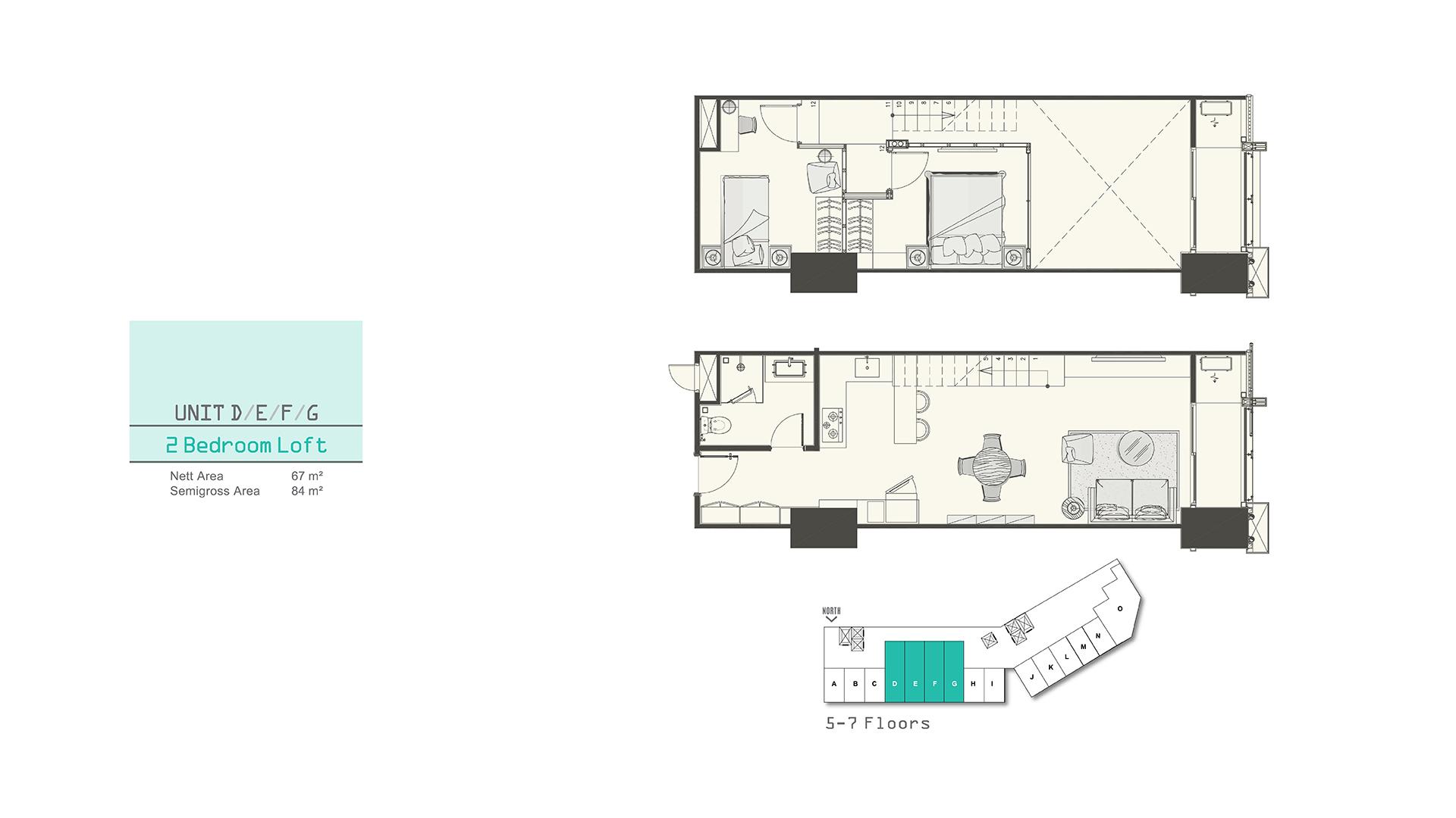 Southgate 2 Bedroom Loft (D,E,F,G)