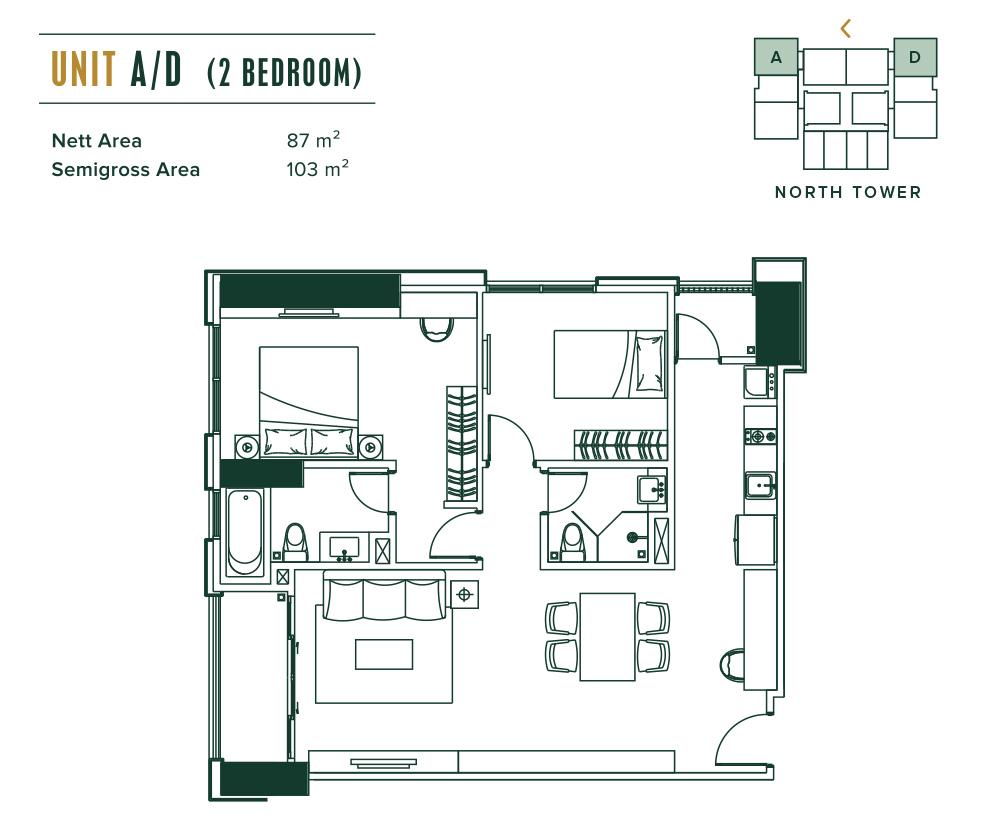 Southgate 2 Bedroom (A,D,F,K)