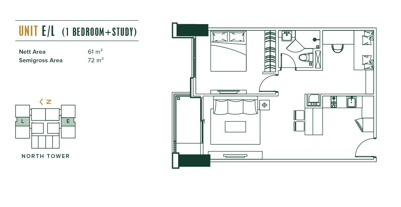 Southgate 1 Bedroom + Study (E,L)