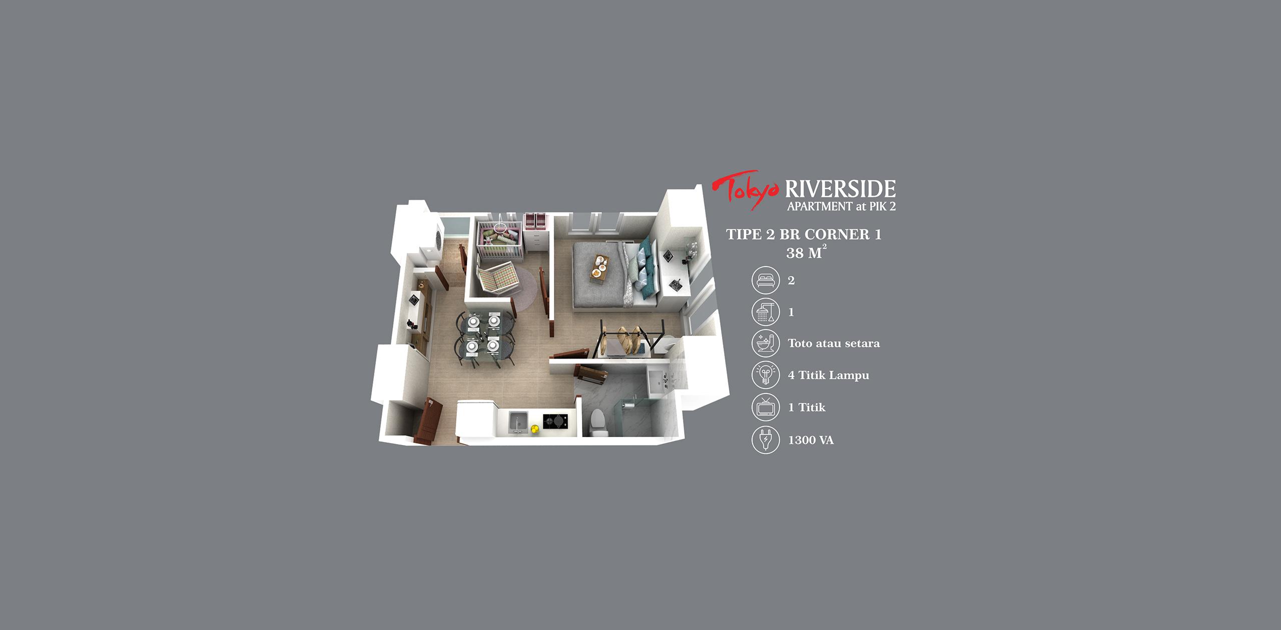 Pik2 - Tokyo Riverside - 2BR Corner 1