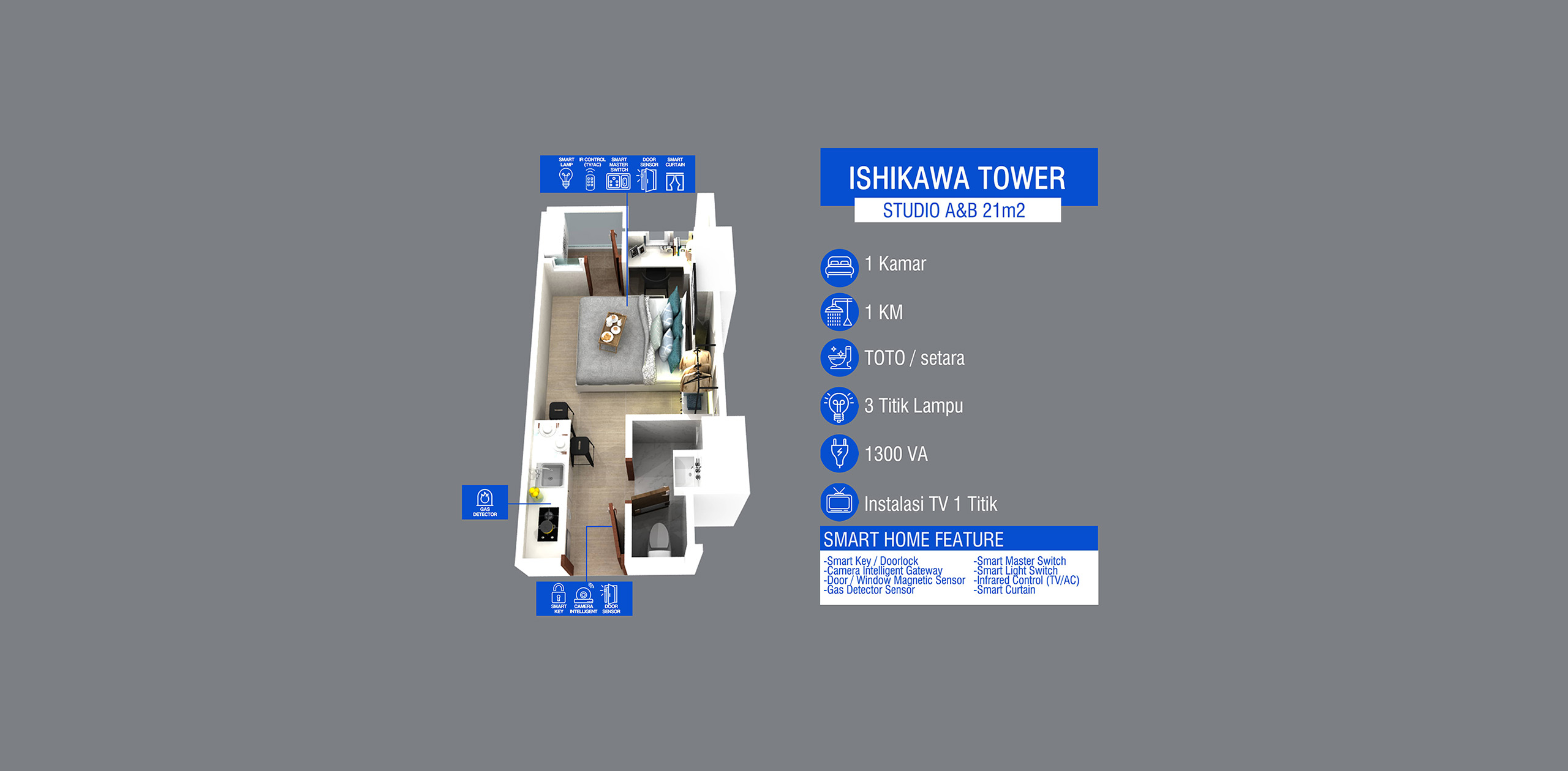 Pik2 - Ishikawa Tower - Studio (21 m2)