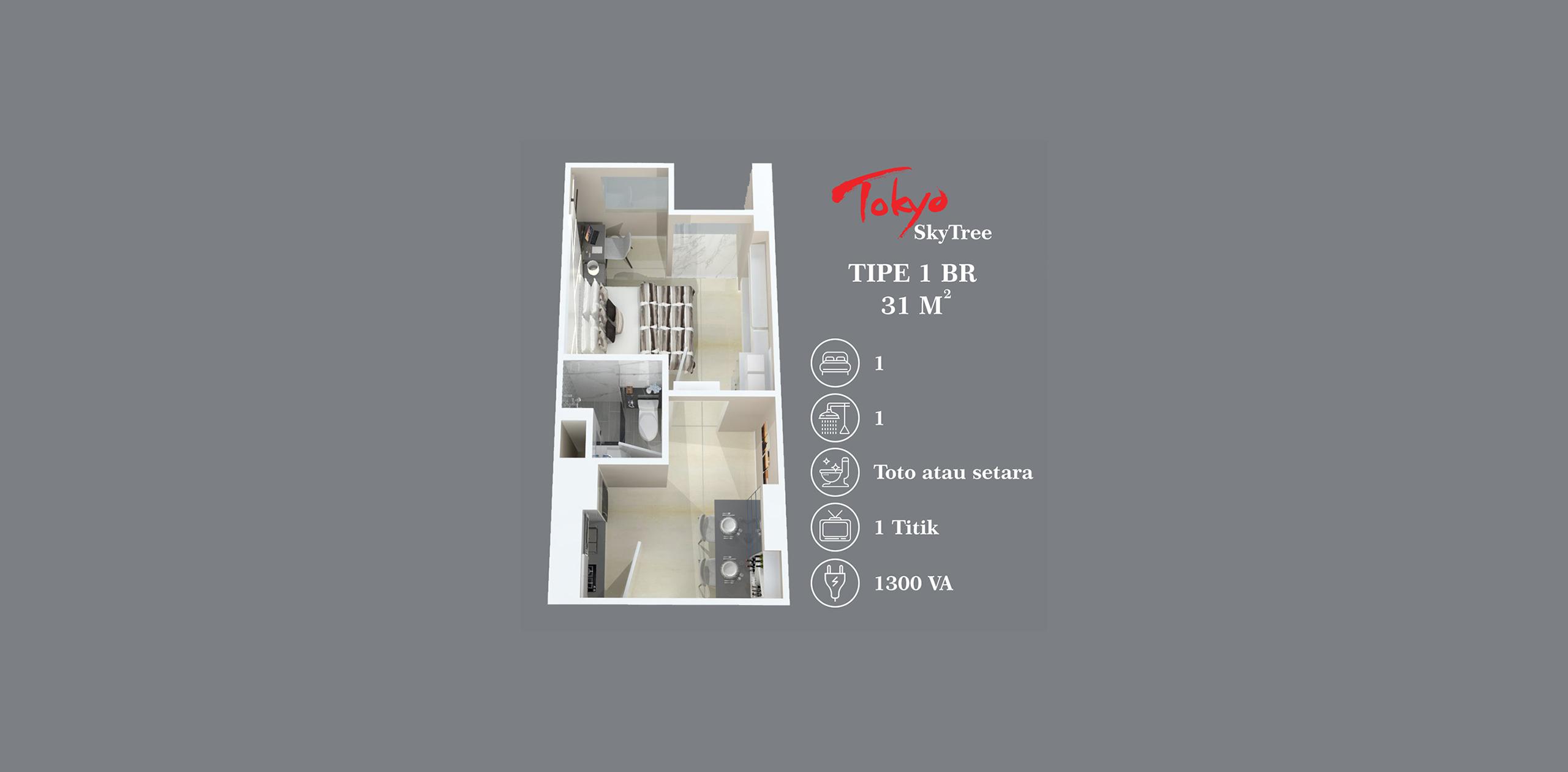 Pik2 - Tokyo Skytree - 1BR