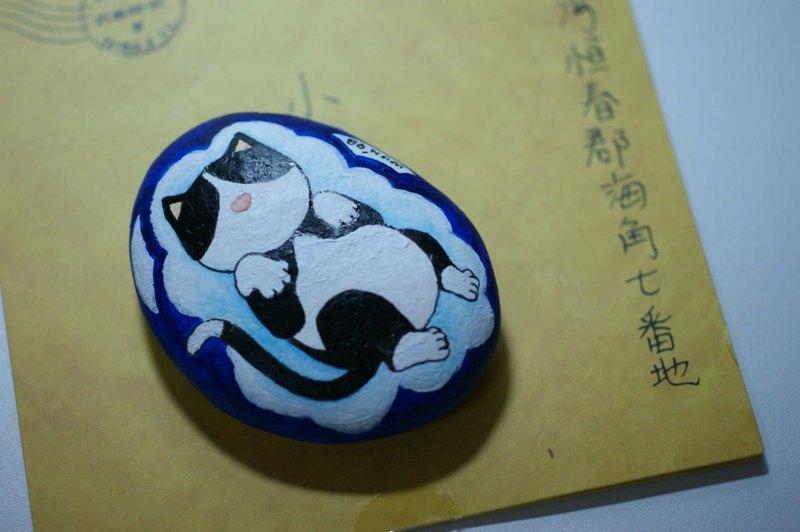 石頭畫訂作 云朵上的貓