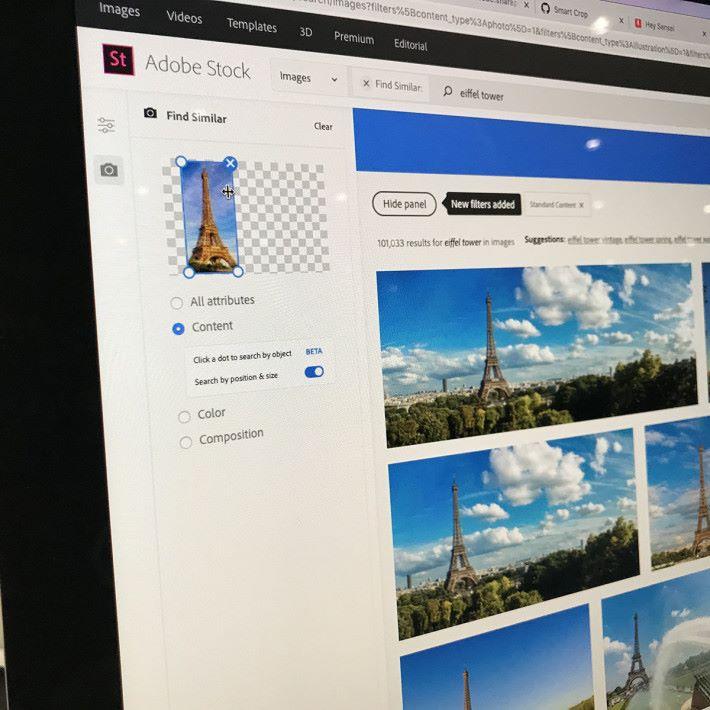 最後放置於圖片中的某一方,這樣 Sansai 就能從 Adobe Stock 中搜索到所有巴黎鐵塔在畫面左方的圖片。