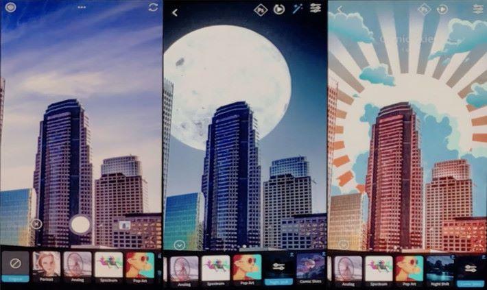 在現場的示範中可以看到,用戶可將日光下拍攝(左)出來的畫面,變成晚間(中)與及其他不同具變化的創意影像。