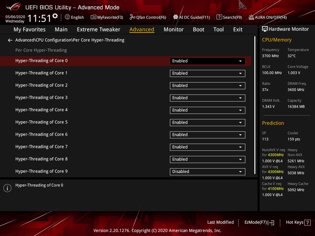 BIOS可見有Core 0~9 各個Hyper-Threading 的Enabled / Disabled設定。