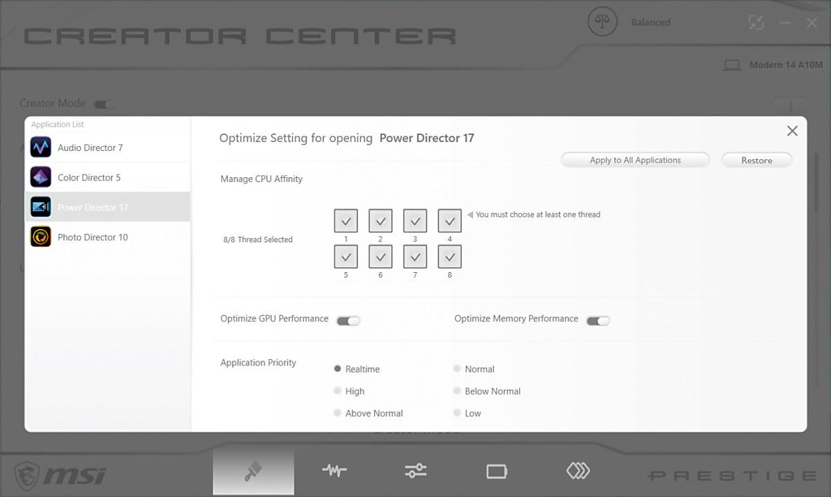 其中自帶軟件《Creator Center》可針對這些軟件調整 CPU 使用核心數目等設定。