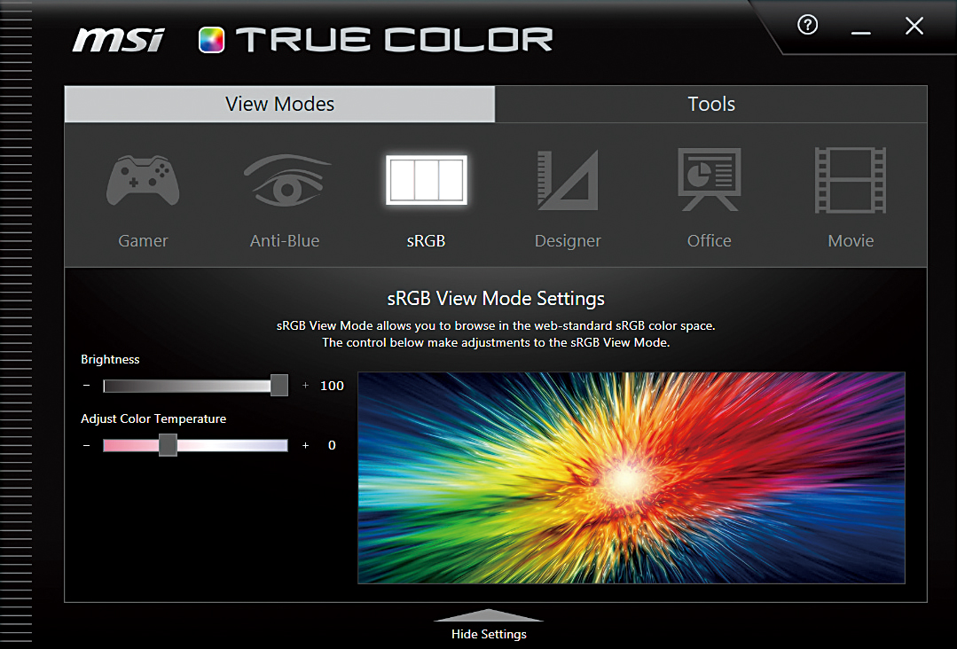 「True Color」中有六種不同模式對應多種場景。