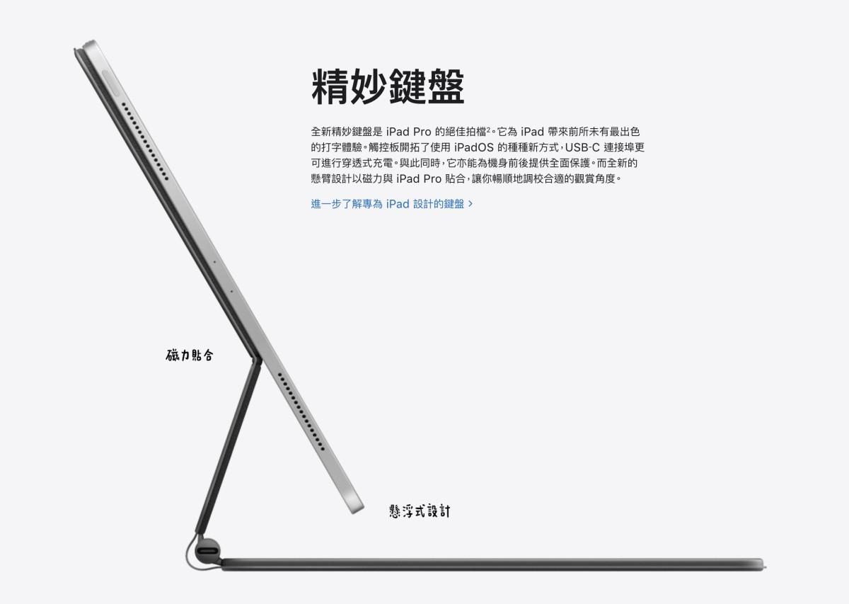 Apple 在 3 月中推出新一代 iPad Pro ,並同時公布全新的精妙鍵盤,以穿透式充電方式為 iPad Pro 充電。