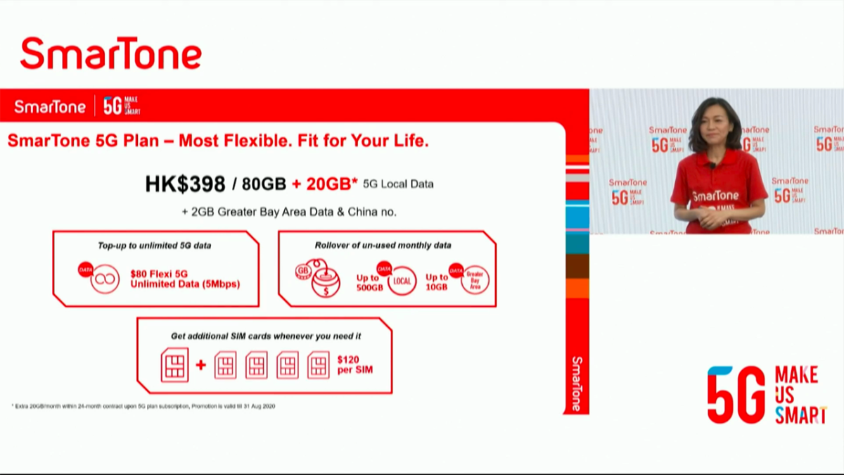 月費 $398 有 80GB 5G 數據用量的計劃(當中包括 2GB 大灣區及內地數據用量),如 8 月 31 日前上台更可額外多 20GB 數據用量。