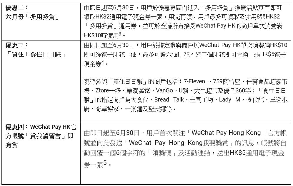 wechat pay hk 六月優惠 2